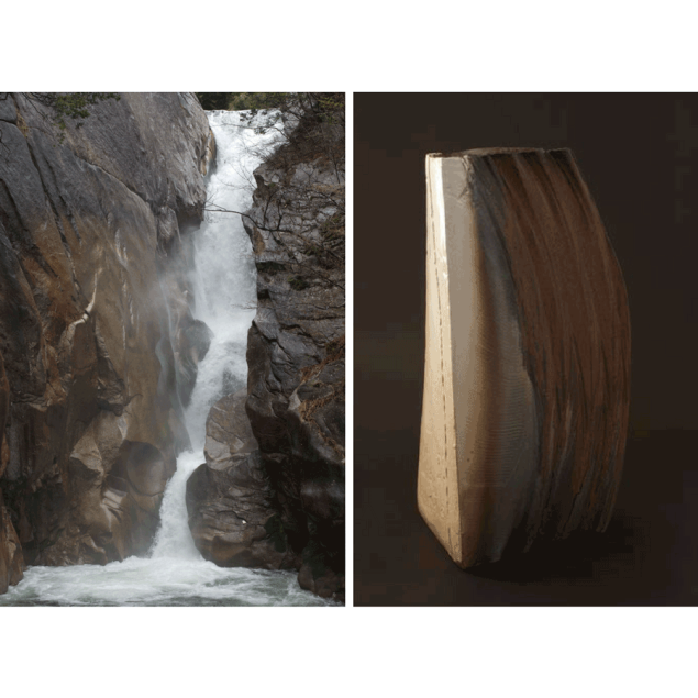 Photograph of water falls next to Japanese ceramic vase