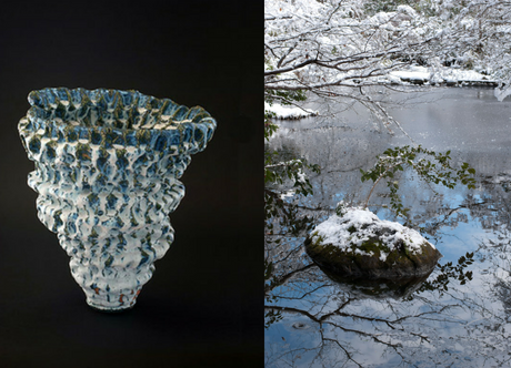 Japanese ceramic vase on the left. Photograph of snow on a rock in water.