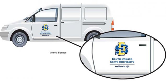 SDState Vehicle Signage minivan example image with an enlargement of the SDState logo appropriate use for this application