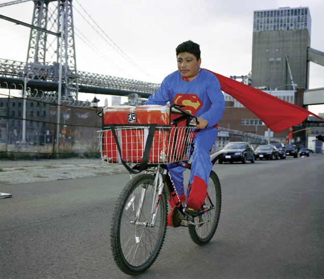 "Dulce Pinzón, Superman from The Real Story of the Superheroes series, 2005-10, photograph, 16"" H x 20"" w"