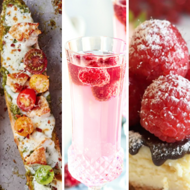 Photos of Pesto French Bread Pizza, Sparkling Raspberry Lemonade Mocktail, and Cheesecake
