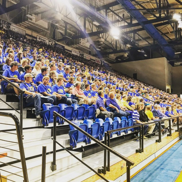 New Jackrabbits meet in Frost Arena for 2018 Convocation.