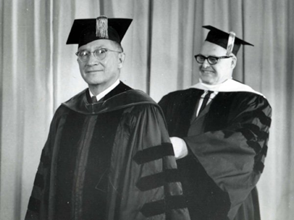 Representative Ben Reifel receives an honorary degree of Doctor of Laws from the University of South Dakota in 1971.