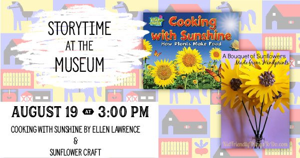 Graphic with Cooking with Sunshine book cover and handprint sunflower craft