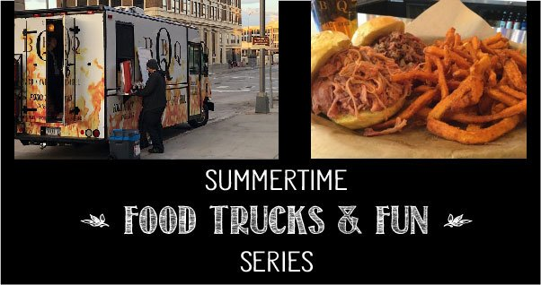Graphic with Backyard Grill food truck and food