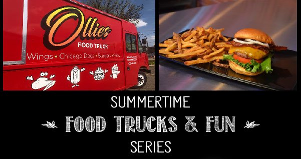 Graphic with Ollie's food truck and food