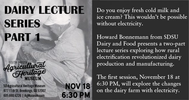 Lecture information with man milking a cow