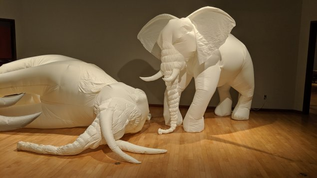 Life-sized white elephants