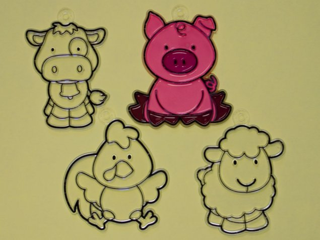 Suncatcher examples (cow, pig, chicken, and sheep)