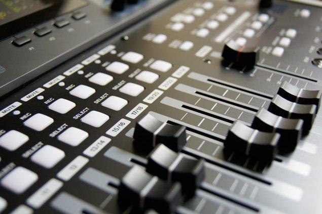 Close up shot of audio control board