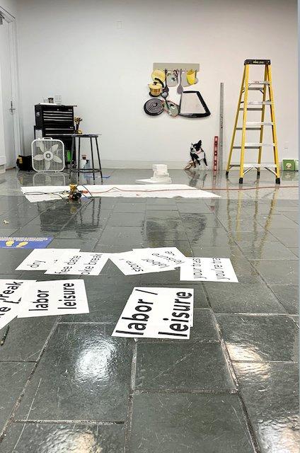 Art studio with yellow ladder