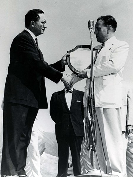 Ben Reifel receives the All American Indian Days award for Outstanding American Indian of the Year in 1956.