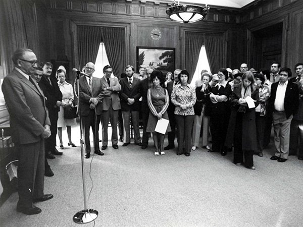 Ben Reifel speaks during his swearing in ceremony as Special Assistant for Indian programs to the Director of the National Park Service in the Department of the Interior.