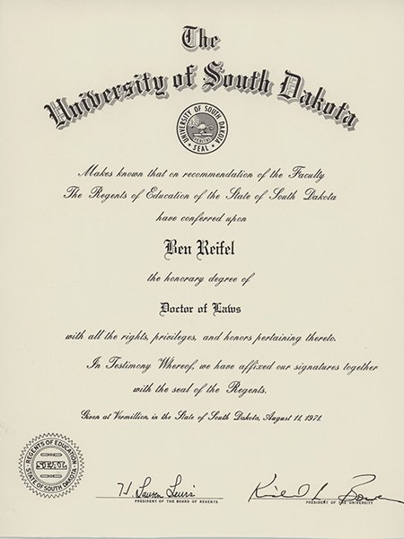 Ben Reifel's honorary degree of Doctor of Laws from the University of South Dakota