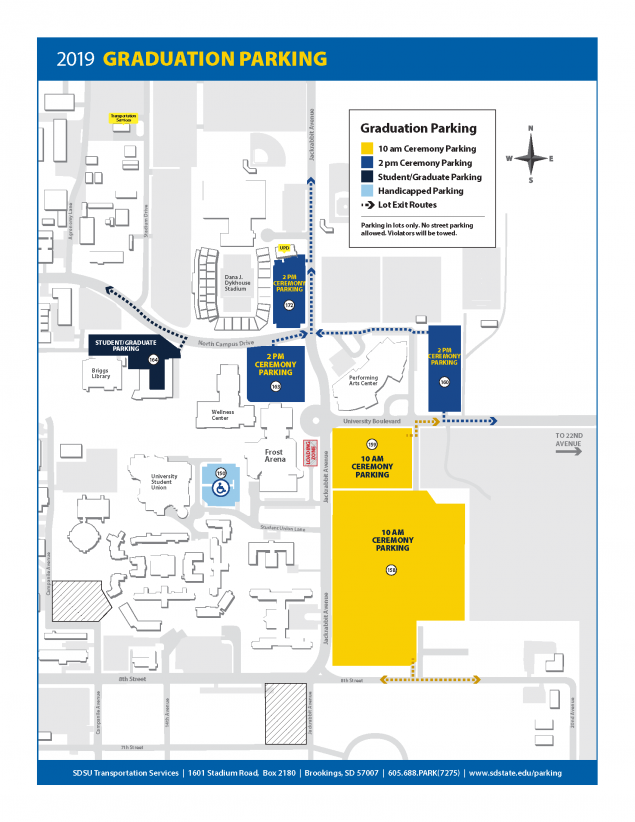 Color coded map of parking directions for May 4, 2019 Graduation.