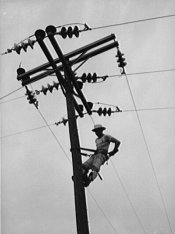 """Lineman hanging electricity lines in Missouri"""