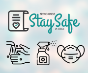 Brookings Stay Safe Pledge graphic with handwashing, sanitizing and face coverings graphics.