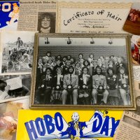 Hobo Day memorabilia lent to Briggs Library for Preserving Historic Hobo Day by Ann Kratochvil Holzhauser, the first female student to serve as Grand Pooba in 1982. The library archives has started a program to grow the number of scanned Hobo Day images.