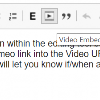 Video embed button highlighted in the editor.