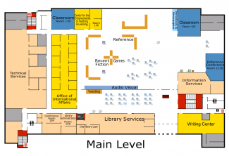 Floor plan of Briggs Library, Main Level