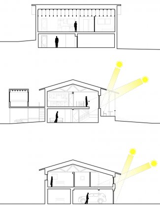 Graphic sections illustrating sectional conditions and daylighting.