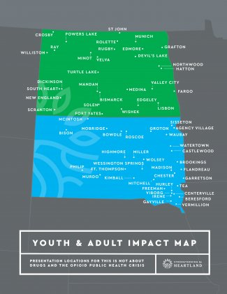 ND and SD map with towns which received opioid educational programming