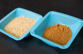 Natural, left, and fermented, right, soybean meal
