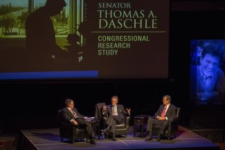 2014 Daschle Dialogue. Senator Daschle speaking with Trent Lott and moderated by Chuck Raasch.
