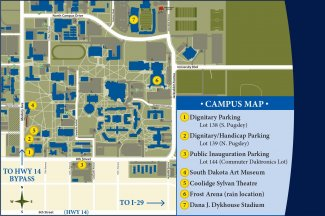 Parking and event locations for Inauguration of Barry H. Dunn