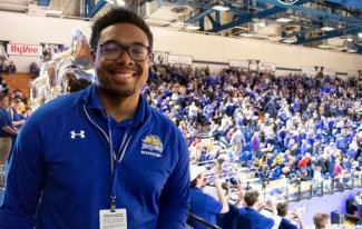 SDSU Student Kyle Fluker at basketball game
