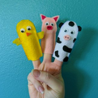 Finished Farm Animal Finger Puppets (chick, pig, cow)