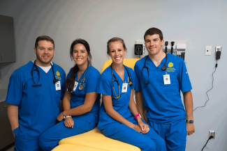 Group of students in scrubs