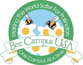 """Bee Campus USA Logo has bees on flowers and says ""Bee Campus USA Making the World Safer for Pollinators One Campus At A Time."""""